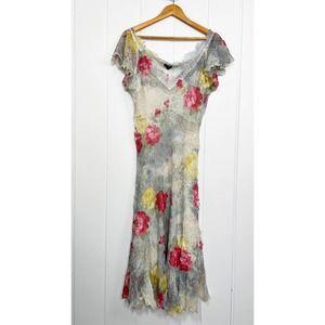 Komarov Gauzy Floral Shear Lined Dress Large